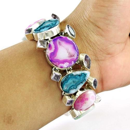 Paradise Bloom ! Agate Geode Druzy, Amethyst Gemstone Sterling Silver Bracelet Jewelry