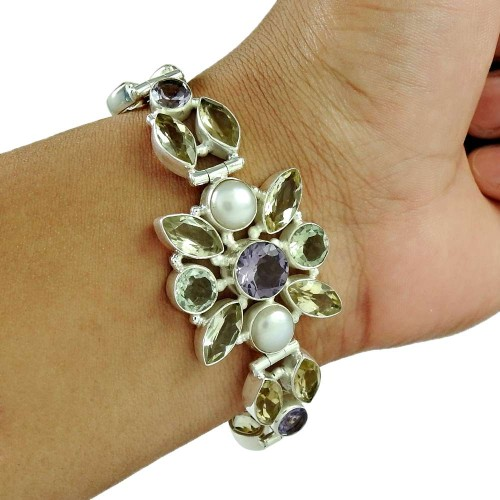 Stylish ! Citrine, Amethyst, Green Amethyst, Pearl Gemstone Sterling Silver Bracelet Jewelry