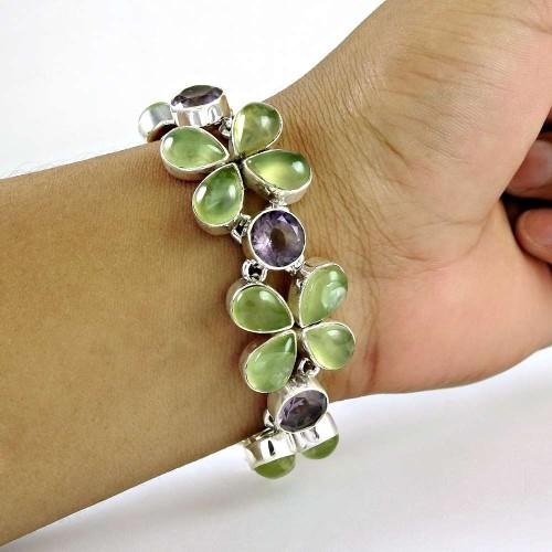 Victorian Style ! Prehnite, Amethyst Gemstone Sterling Silver Bracelet Jewelry