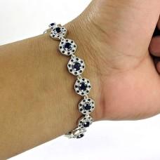 Caribbean Sea !! 925 Sterling Silver Iolite, White CZ, Inlay Bracelet
