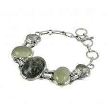 925 sterling silver gemstone jewelry Designer Seraphinite, Prehnite, Green Amethyst Gemstone Bracelet