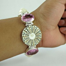 Awesome Style Of !! 925 Sterling Silver Multi Stones Bracelet