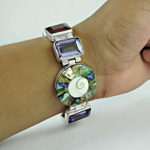 Lavender Dreams !! 925 Sterling Silver Multi Stones Bracelet