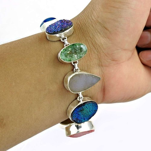 Royal !! 925 Sterling Silver Multi Stones Bracelet