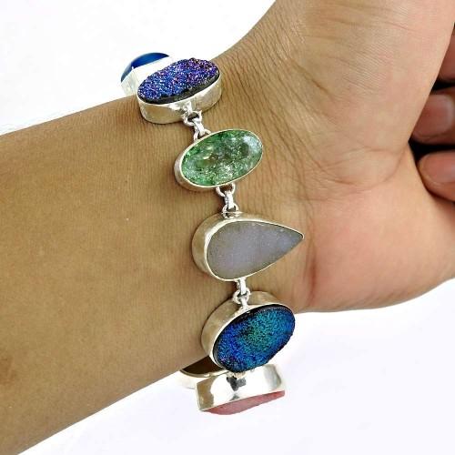 Royal !! 925 Sterling Silver Multi Stones Bracelet