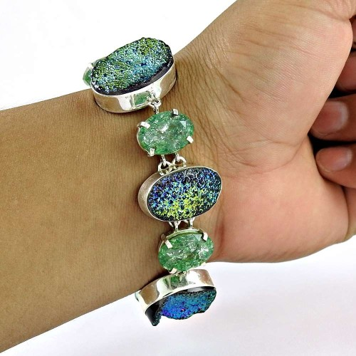 Large Fashion !! 925 Sterling Silver Multi Stones Bracelet