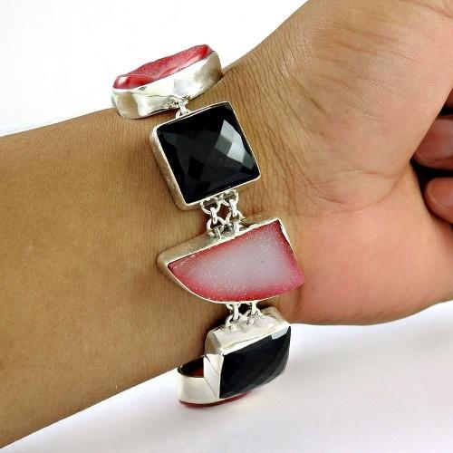 Perfect !! 925 Sterling Silver Black Onyx, Druzy Bracelet