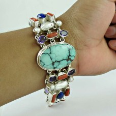 Tropical Glow !! 925 Sterling Silver Coral, Turquoise, Lapis, Pearl, Amethyst Bracelet