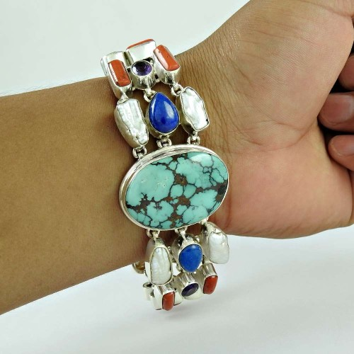 Big Inspire !! 925 Sterling Silver Coral, Turquoise, Lapis, Pearl, Amethyst Bracelet