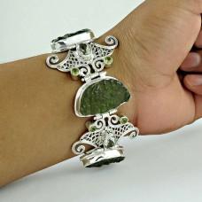 Stylish !! 925 Sterling Silver Glass, Green, Amethyst, Peridot Bracelet