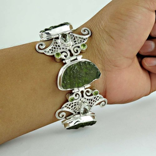Stylish !! 925 Sterling Silver Glass, Green, Amethyst, Peridot Bracelet