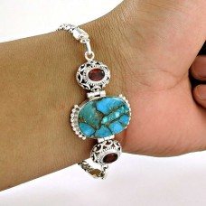 925 sterling silver gemstone jewelry Fashion Blue Copper Turquoise, Garnet Gemstone Bracelet