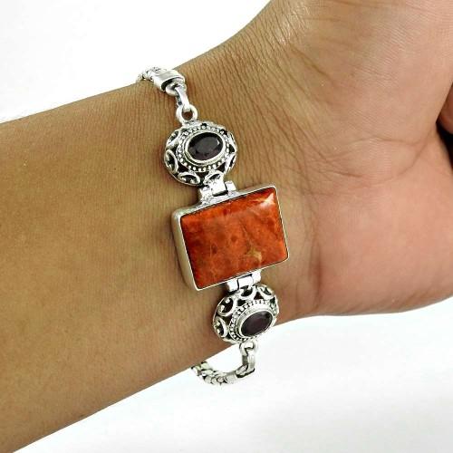 Beauty Queen ! Sponge Coral, Garnet Gemstone Sterling Silver Bracelet Jewelry