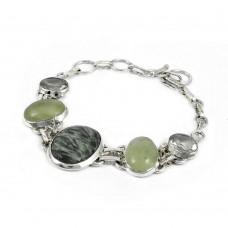 indian silver jewelry Designer Seraphinite, Prehnite, Green Amethyst Gemstone Bracelet