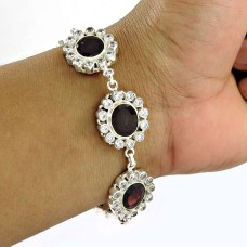 Personable Garnet, CZ Gemstone Sterling Silver Bracelet 925 Silver Jewellery
