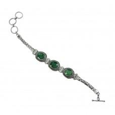 Engaging Emerald Gemstone Sterling Silver Bracelet 925 Sterling Silver Jewellery