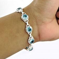 Beautiful Blue Topaz Gemstone Sterling Silver Bracelet 925 Silver Jewellery