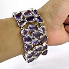 Natural Beauty !! 925 Sterling Silver Amethyst Bracelet