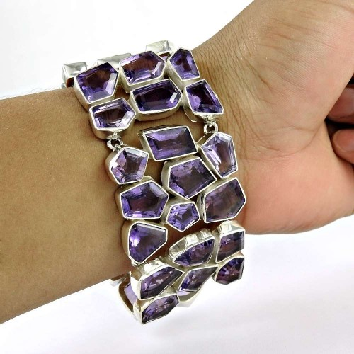 Natural Beauty !! 925 Sterling Silver Amethyst Bracelet