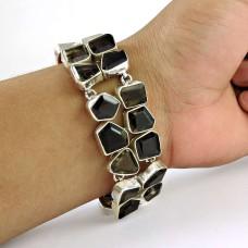 Antique Look !! 925 Sterling Silver Smoky Quartz Bracelet