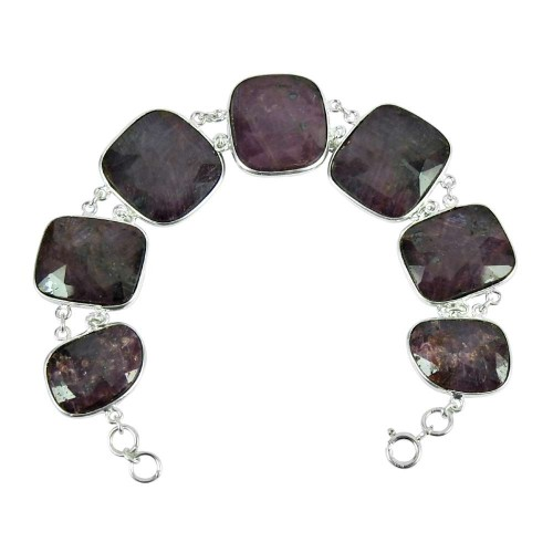 925 Silver Jewellery Traditional Multi Color Sapphire Gemstone Bracelet Manufacturer India