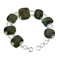 925 Sterling Silver Jewellery High Polish Multi Color Sapphire Gemstone Bracelet
