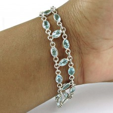 Rattling 925 Sterling Silver Blue Topaz Gemstone Bracelet Jewelry