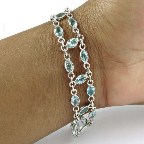 Rattling 925 Sterling Silver Blue Topaz Gemstone Bracelet Jewelry