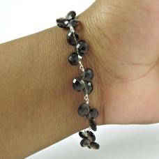 Scrumptious 925 Sterling Silver Smoky Quartz Gemstone Bracelet Jewelry