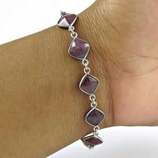 Lustrous 925 Sterling Silver Multi Sapphire Gemstone Bracelet Ethnic Jewelry