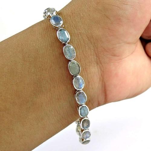 Love Circle 925 Sterling Silver Labradorite Gemstone Bracelet