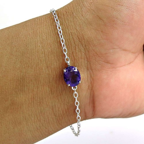 Melodious 925 Sterling Silver Amethyst Gemstone Chain Bracelet