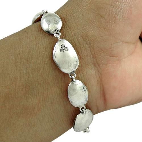 Natural Beauty 925 Sterling Silver CZ Gemstone Bracelet