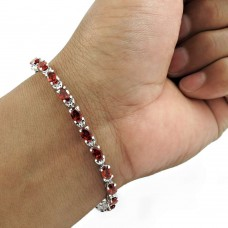 Perfect 925 Sterling Silver Garnet Gemstone Bracelet Handmade Jewelry A24