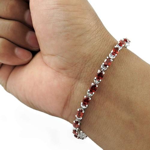 Seemly 925 Sterling Silver Garnet Gemstone Bracelet Handmade Jewelry A25