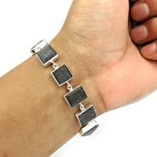 Black Sunstone Bracelet 925 Sterling Silver Tribal Jewelry BR13