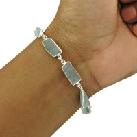 Aquamarine Gemstone Bracelet 925 Sterling Silver Ethnic Jewelry BR14