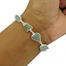 Aquamarine Gemstone Bracelet 925 Sterling Silver Vintage Jewelry BR15