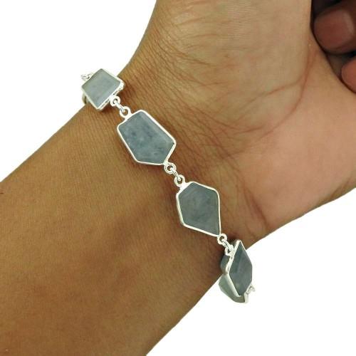 Aquamarine Gemstone Bracelet 925 Sterling Silver Ethnic Jewelry BR17