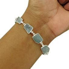 Aquamarine Gemstone Bracelet 925 Sterling Silver Vintage Look Jewelry BR18