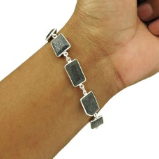 Black Sunstone Bracelet 925 Sterling Silver Tribal Jewelry BR48