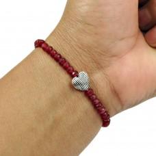 Natural RUBY Gemstone Beaded Bracelet 925 Silver HANDMADE Fine Jewelry AO5