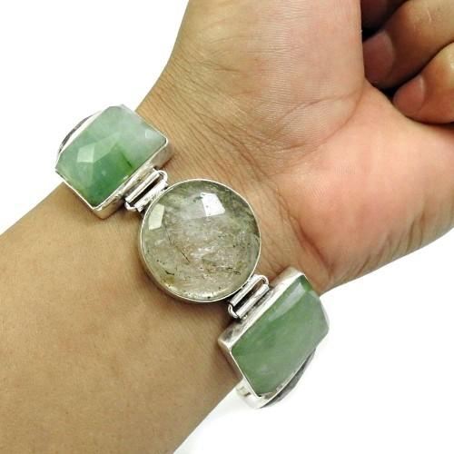 Ruby Josite Green Aventurine Black Rutile Jasper Gemstone Bracelet 925 Sterling Silver Indian Handmade Jewelry G3