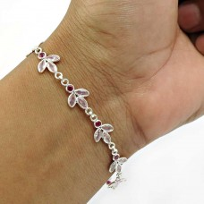 Pink CZ Ruby CZ Gemstone Bracelet 925 Sterling Silver Stylish Jewelry E6