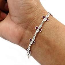 Pear Shape Ruby Cz White Gemstone Jewelry 925 Fine Sterling Silver Bracelet K2