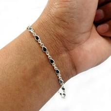 Pear Shape Black Cz Gemstone HANDMADE Jewelry 925 Sterling Silver Bracelet O2