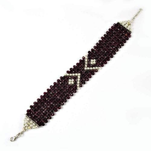 Trendy Garnet Gemstone Sterling Silver Bracelet 925 Sterling Silver Gemstone Jewellery