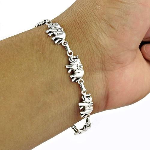 925 Sterling Silver Elephant charm Bracelet Handmade Silver Jewellery