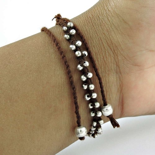 Stylish 925 Sterling Silver Beads Thread Bracelet Jewelry