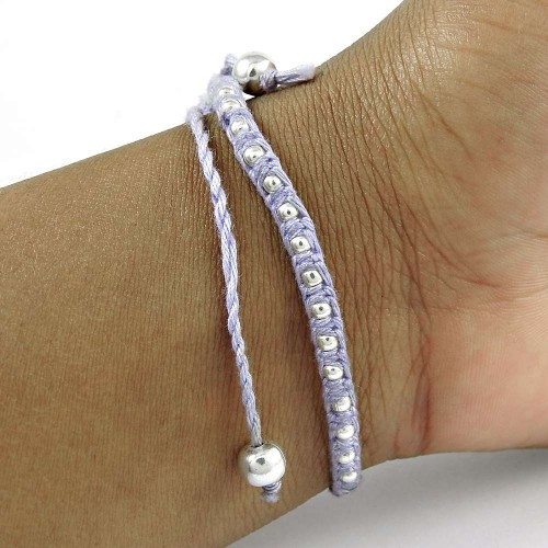 Dainty 925 Sterling Silver Beads Thread Bracelet Vintage Jewelry
